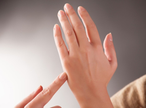 Point on side of hand for Emotional Freedom Technique
