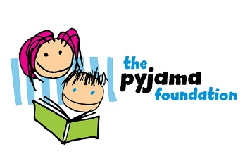 The Pajama Foundation Logo with two children reading a book